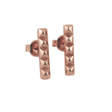 """Studded"" Rose Gold-Dipped Bar Earrings"