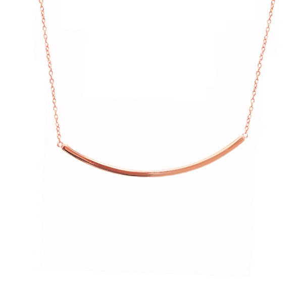 Rosy Horizontal Bar Pendant Necklace