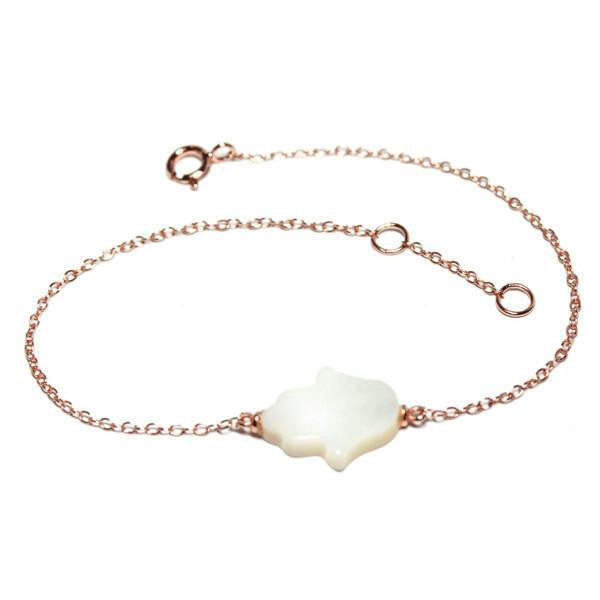 Mother of Pearl Hamsa & Sterling Chain Bracelet