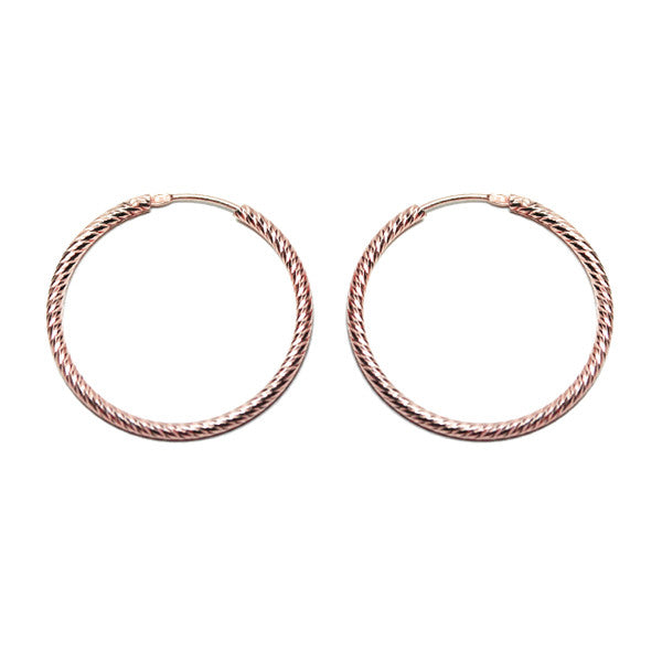 Rosy Rope Hoop Earrings 1 inch