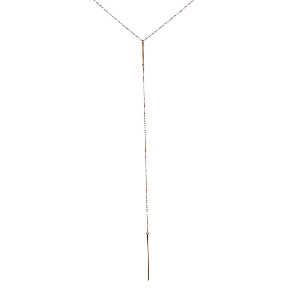 Rosy Bar Lariat Necklace 18 inch