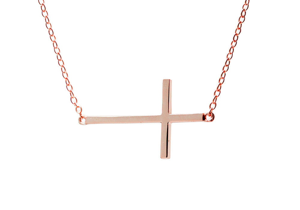 Rosy Horizontal Cross Necklace 16 inch