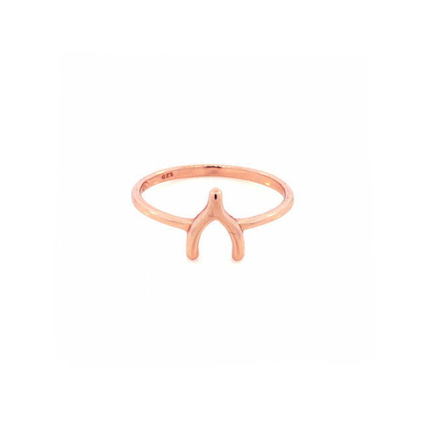 """Lucky"" Rosy Wishbone Ring"
