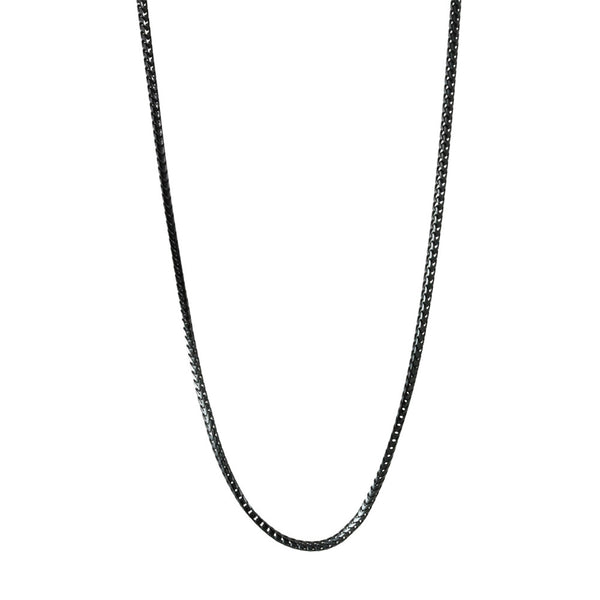 Thin Black Franco Chain Necklace 16 - 24 inch