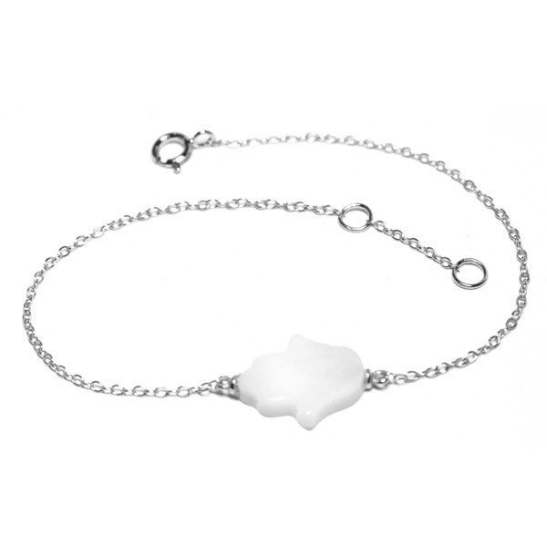 Mother of Pearl Sterling Silver Hamsa Bracelet