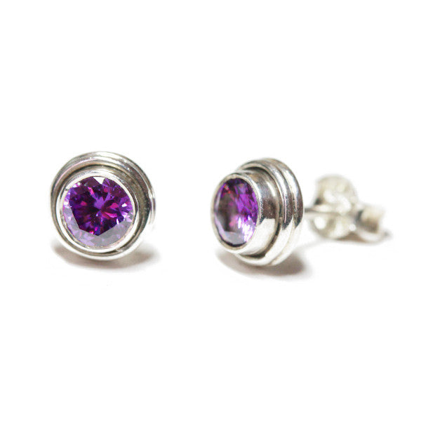 Sterling Silver Mini Amethyst-Quartz Stud Earrings