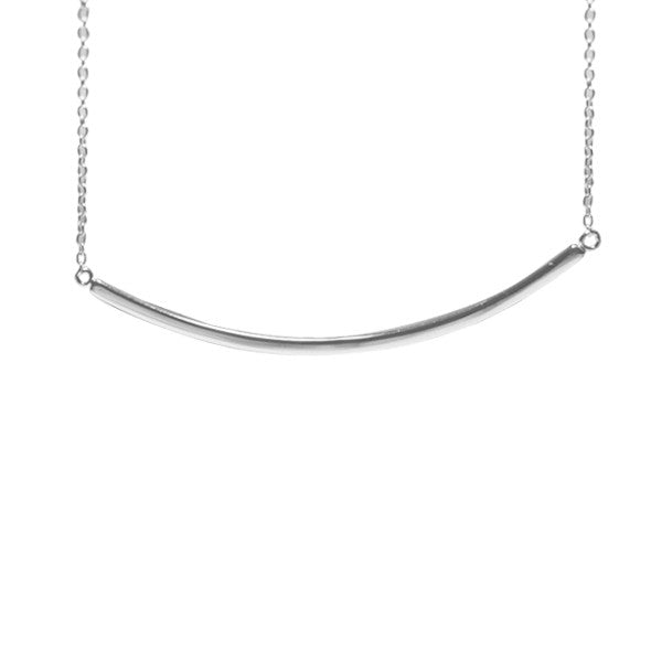 Simple Sterling Silver Horizontal Bar Pendant Necklace