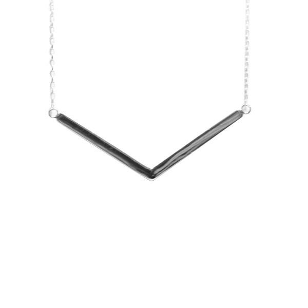 """Vendetta"" Sterling Silver V Bar Pendant Necklace"