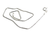 """Dotted Line"" Bar Beaded Sterling Silver Necklace"