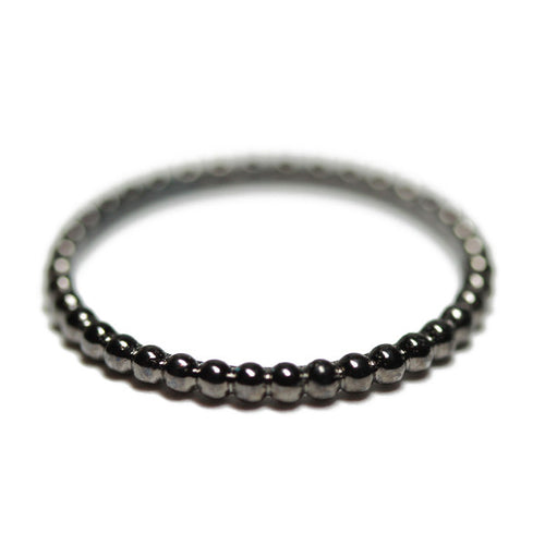 Bubble Black Thin Band Stacking Ring