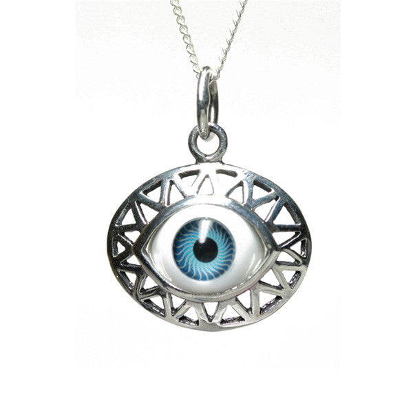 silver blue evil eye disc pendant necklace