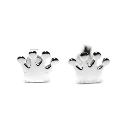 Sterling Silver Princess Crown Stud Earrings Mini