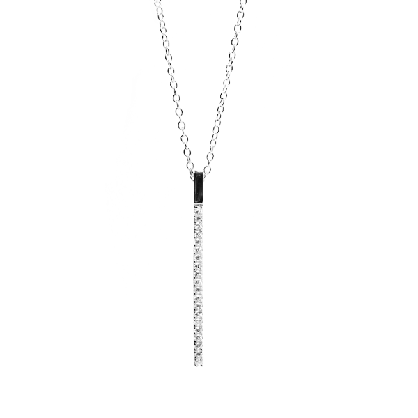 "Sterling Silver ""Sparkle Stick"" CZ Bar Necklace 17 inch"