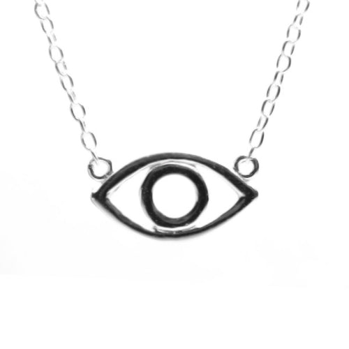 Sterling Silver Open Evil Eye Necklace 16-17 inch