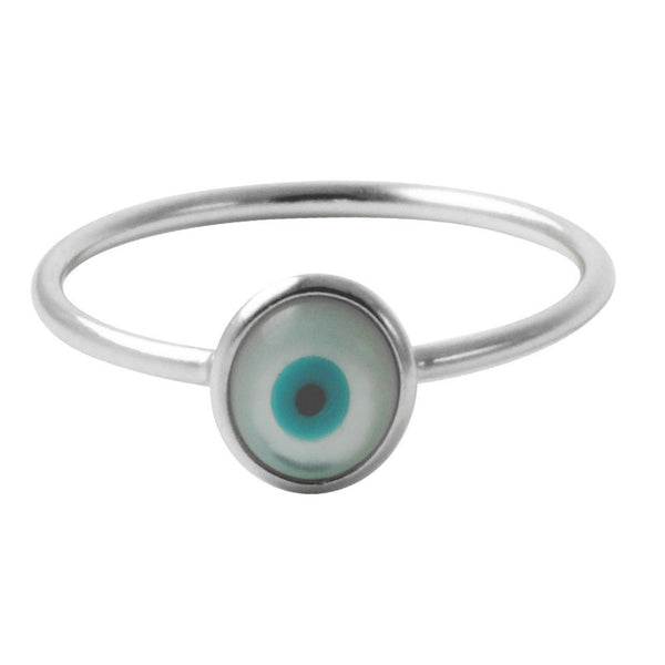 """Peeper"" Sterling Silver Mini Blue Eye Ring"
