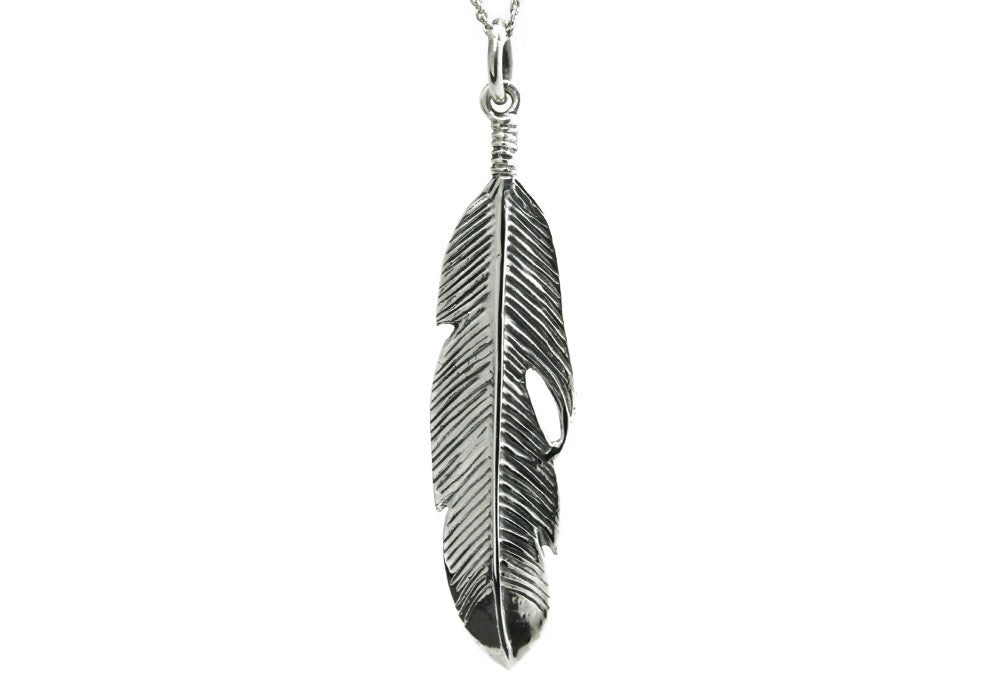 """Plume"" Sterling Silver Feather Charm Necklace"