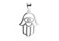 Sterling Silver Evil Eye Hamsa Pendant with Black Chain Necklace