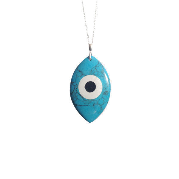 Sterling Silver Turquoise Blue Evil Eye Pendant with Long Necklace 30 inch