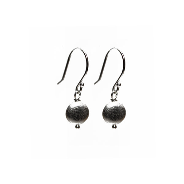 Sterling Silver Matte Round Drop Earrings
