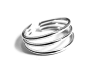 Sterling Silver Triple Band MiDi Cuff Ring Adjustable