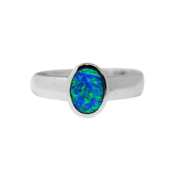 Blue Opal Signet Ring Sterling Silver