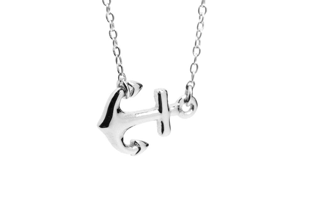 Sterling Silver Sailing Anchor Pendant Necklace
