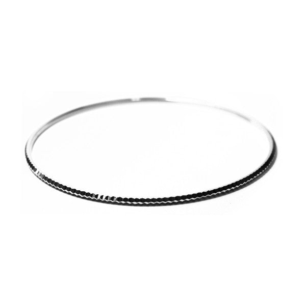 """Edgy"" Sterling Silver Bangle Bracelet Slim Stacklable"