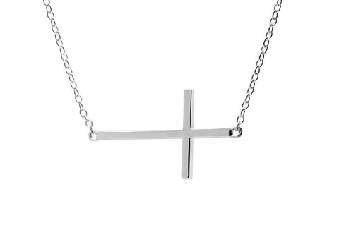 Sterling Silver Horizontal Cross Necklace 16 inch
