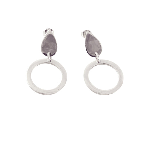 Sterling Silver Teardrop Stud Dangle Hoop Circle Earrings