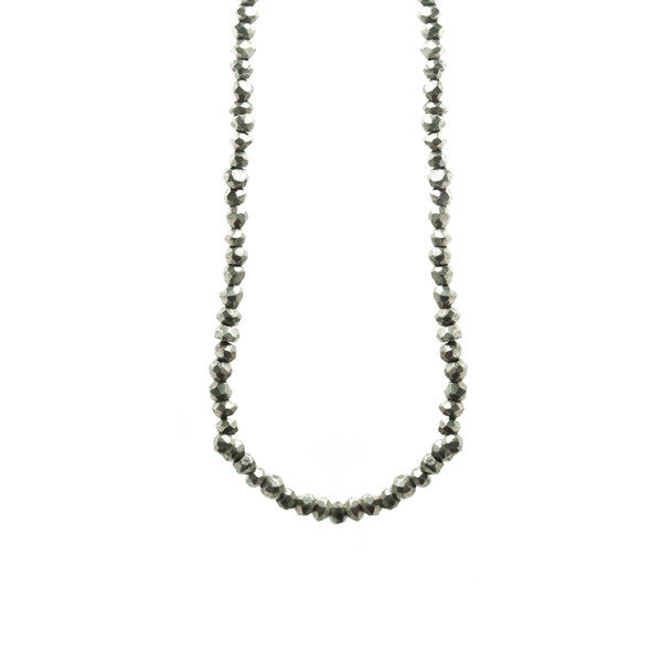 Silver Pyrite Beaded Wrap Necklace 30 inch