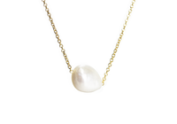 "Gold-Dipped ""Baroque"" Single Pearl Necklace 16 inch"