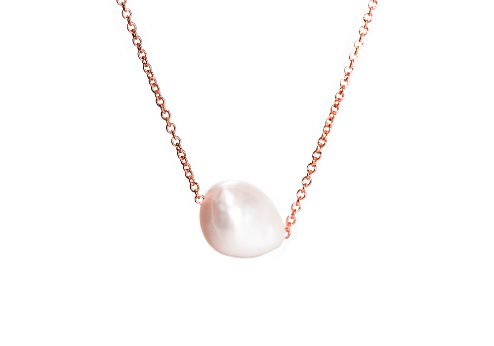 "Rosy Natural ""Baroque"" Single Pearl Necklace"