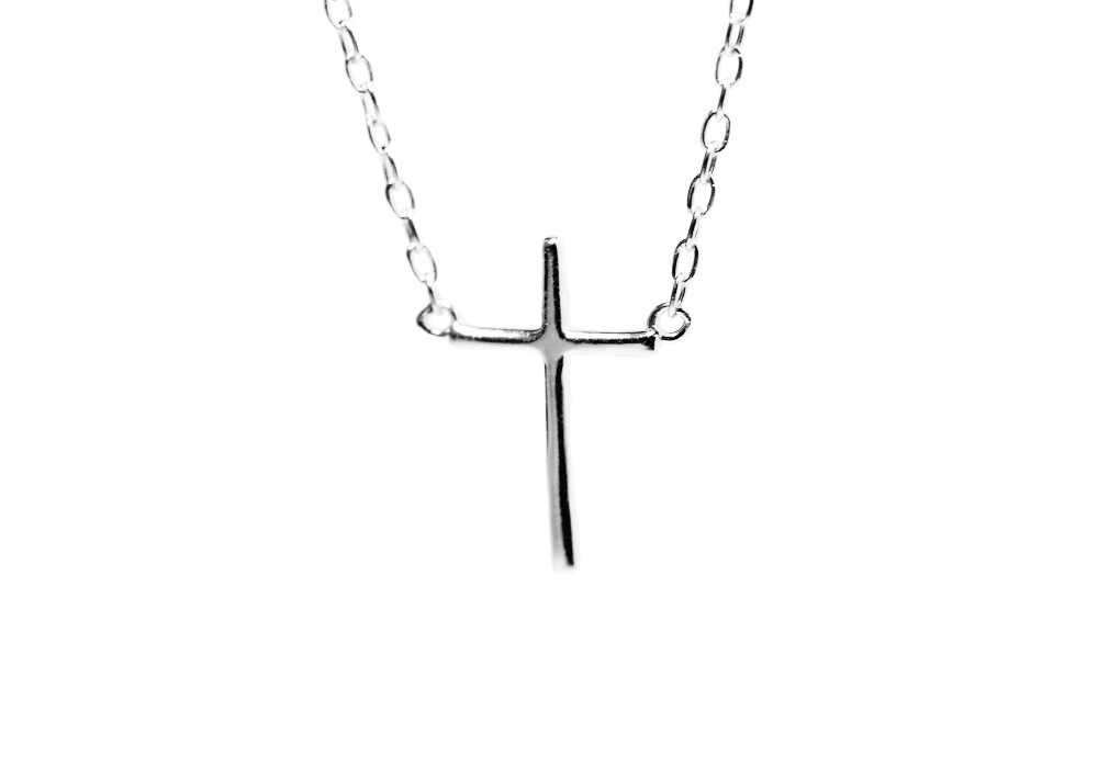 """Savior"" Mini Cross Pendant Necklace 16 inch"
