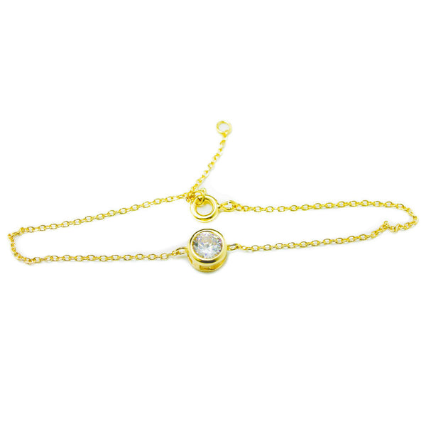 Gold-Dipped Mini Solitaire CZ Stone Bracelet