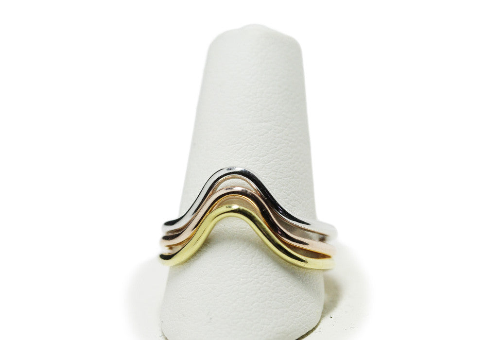 """Archy"" Three-Tone Sterling Silver Thin Band Ring Set"