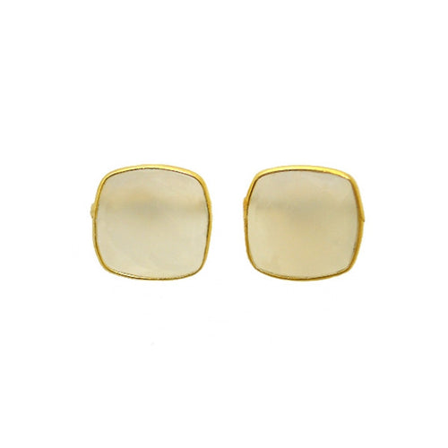 Gold-dipped White Onyx Square Stud Earrings
