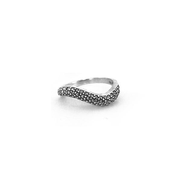 Sterling Silver Marcasite Curved Thin Band Ring