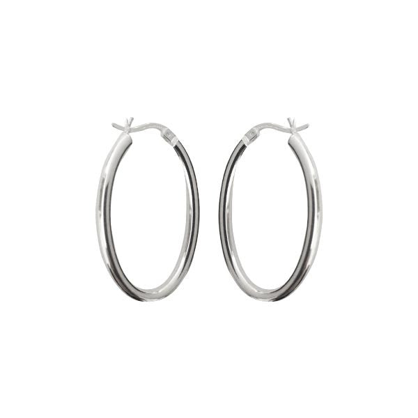"Sterling Silver ""Silver Arches"" Oval Hoop Earrings"