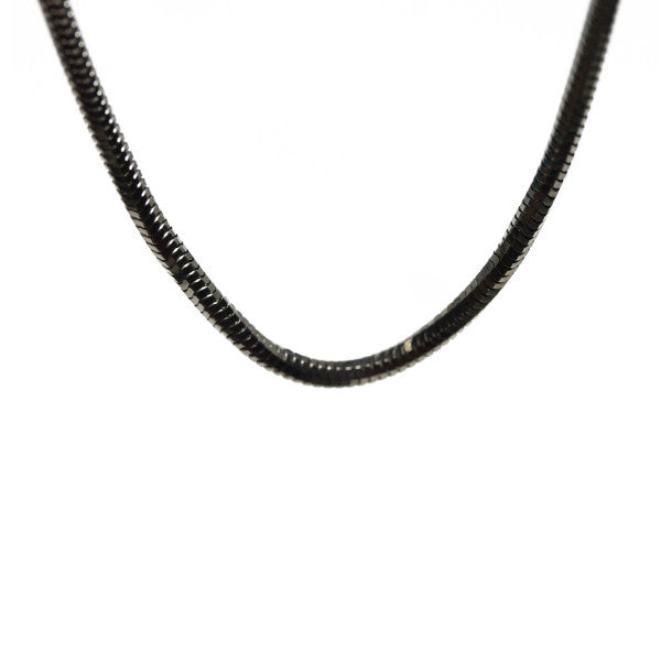 """Slinky"" Black Silver Snake Chain Necklace 30 inch"