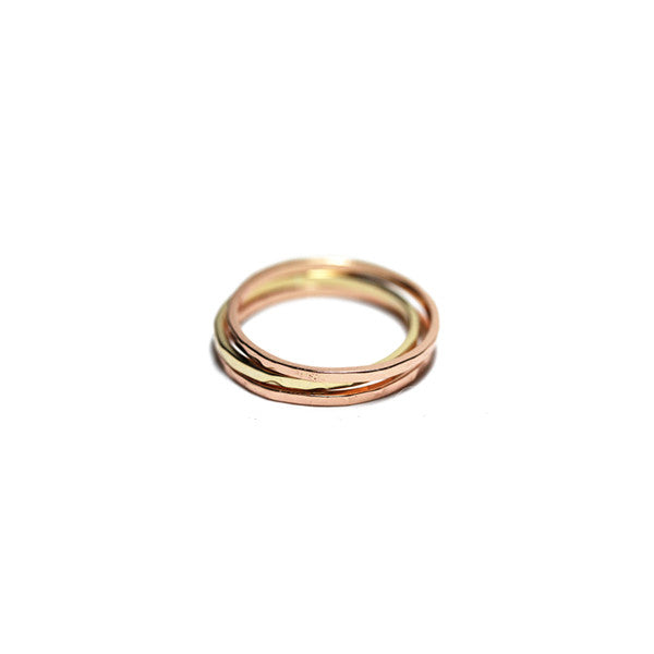 Hammered Rosy Thin Band Ring