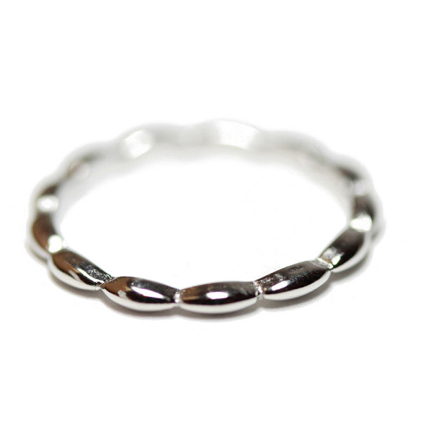 """Bean"" Sterling Silver Thin Band Stacking Ring"