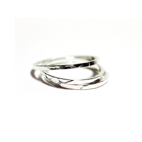 Hammered Sterling Silver Thin Band Ring