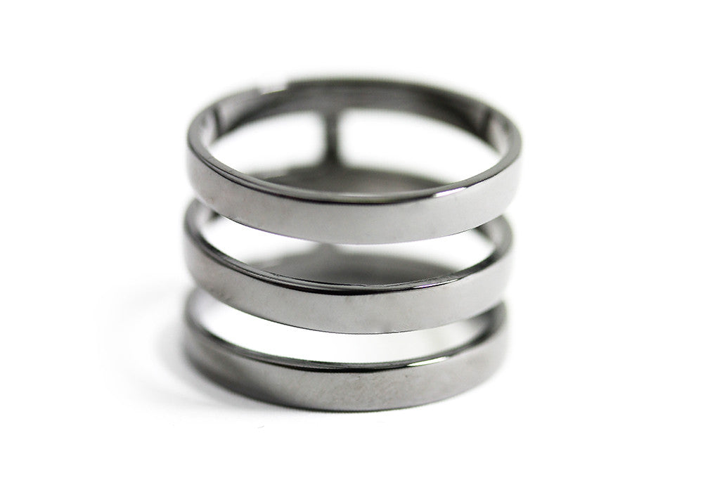 Blackened Silver Triple Band Cage Ring