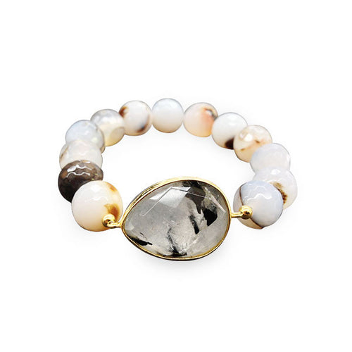 Grey Quartz Gemstone Bracelet Stretch