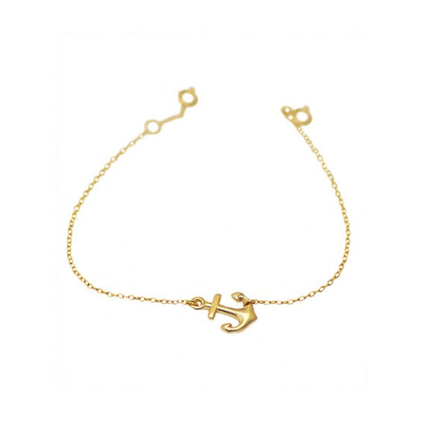 Gold-Dipped  Anchor Charm Bracelet