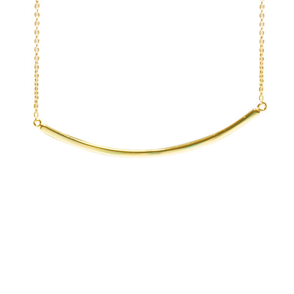 Gold-Dipped Horizontal Bar Pendant Necklace
