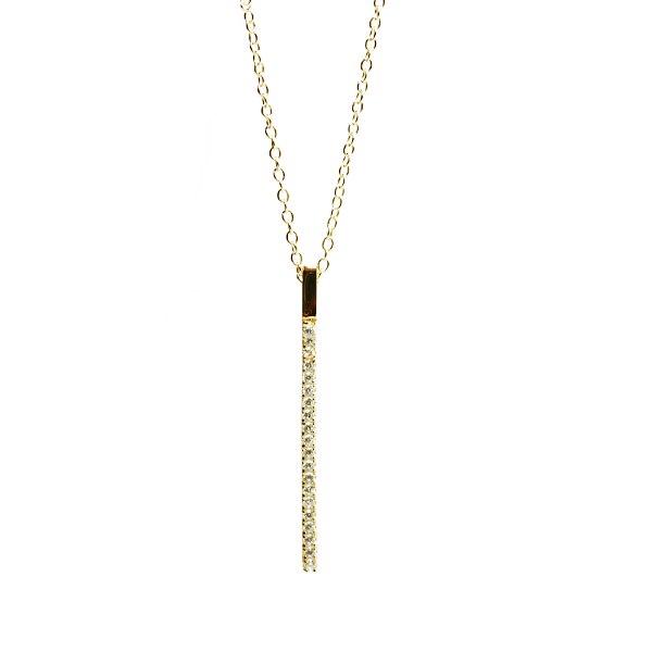 "Gold-Dipped ""Sparkle Stick"" Vertical CZ Bar Necklace"