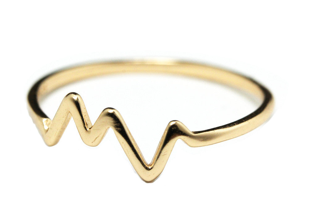 """Electric"" Gold-Dipped HeartBeat Ring"