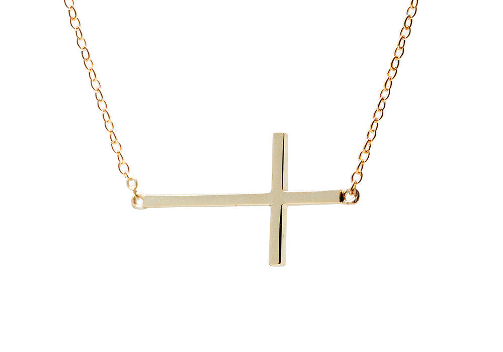 Gold-Dipped Horizontal Cross Necklace