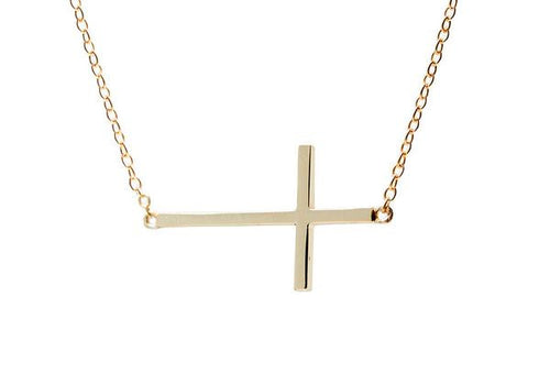 Sterling Silver Horizontal Cross Necklace